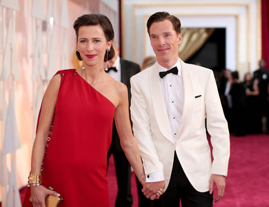 Benedict with his wife at the 2015 Academy Awards this past Sunday<3