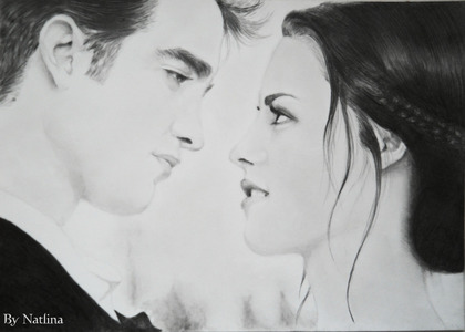 a beautiful Robsten drawing as Edward and Bella<3