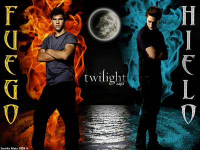 a very cool आग and Ice प्रशंसक made poster of Edward and Jacob from the Twilight Saga<3