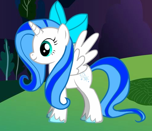 Name: Rose রাজহাঁস Gender: Female Cutie Mark: Snowflakes Hobbies: Art Personality: Kind, Funny and Arty Special Fact: Rose রাজহাঁস has Ice and Snow powers