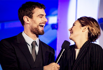 Theo and Shai sharing a laugh at the UK premiere of Insurgent<3
