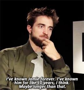 my babe Robert talking about his good friend,Jamie Dornan<3