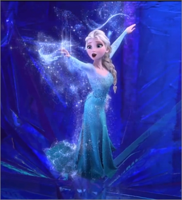 I chose this image from when Elsa is transforming into the Snow Queen from the scene when she sings 'Let It Go' on the mountain. This is my most inayopendelewa scene from the movie. I just luv how she uses her magic & makes a new dress & becomes a whole new person. Just amazing<3