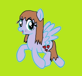 What kind of pony? Pegasus What would your cutie mark be? 3 Liebe Hearts What color would your mane be? Light Brown What would Du work at? Sugarcube Corner What I would look like. :) However, the original base isn't mine. I just added the mane, tail and cutie mark and chose the colours. :)