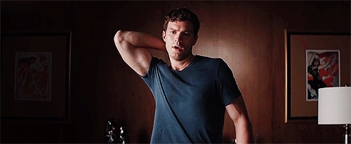 Jamie,in a scene from FSOG,sweating after his run<3