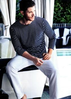 Jensen wearing white pants