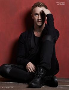 Tom Felton wearing black<3