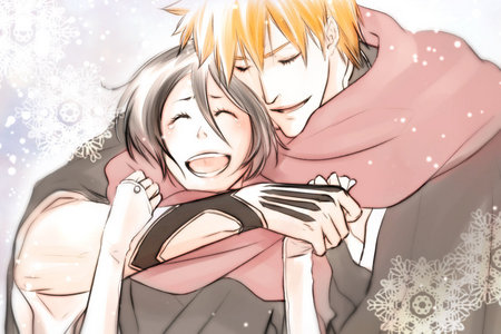 Rukia is simply amazing with Ichigo. They share Love, pain, care, and understanding with eachother. I think if they end up together it would be a lot interesting instead of Orihime cause she just doesn't feel too close to him like Rukia.
