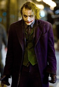 The Joker, played par Heath Ledger. Now I'm obsessed with the Joker played par anyone. And no one (comic book Joker). He's amazing.