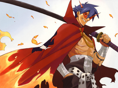 Kamina from Gurren Lagann!!! He's my favourite character of all time!!! And he dies only 8 episodes in. :(