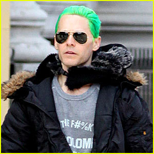 Jared with green hair,for his role as the Joker<3