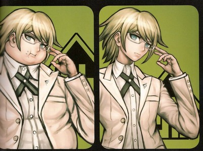 hmmm i guess Byakuya Togami from danganronpa, both of them but the left one is never shown in the anime so yeah, they are 2 different persons