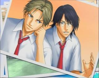Keigo Atobe & Yuushi Oshitari in Prince of Tennis. This picture is a screenshot from the Prince of 테니스 game: Gakuensai no Oujisama. :)