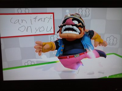 "I was on the Miiverse stage in Super Smash Bros. for the Wii U and I came across this weird question: ""can i fart on you"" I MEAN WHO ASKS A question LIKE THAT?!?!? This wasn't intentionally a reaction image but it can be passed on as one."