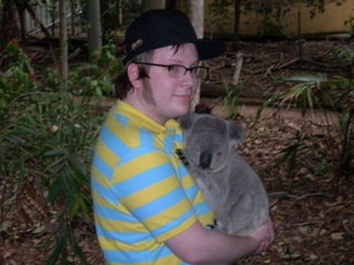 Any character? c: Lead singer of Fall out Boy with a Koala x3