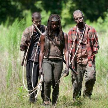 Sorry! I couldn't resist... Michonne and her pets from the TV series 'The Walking Dead'