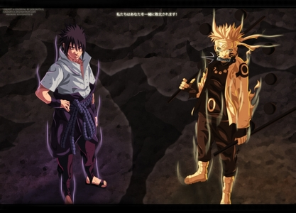 Sasuke & Naruto (Naruto Shippuden) they r both in their Rikudou Sennin Mode.this is their Last Mode..........!!!!!!!!!!!!! Pretty Epic isnt it...............he he he he