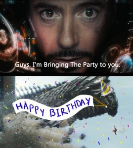 Happy birthday! Sorry Iron Man's a bit late with the party robot-space-eel.