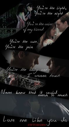 Jamie and Dakota,as their FSOG characters,with lyrics to Любовь Me Like Ты Do<3
