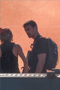 my yummy babe from the side,filming Allegiant part 1(the third part of the Divergent series)<3