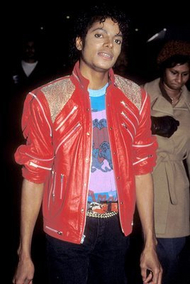 """The red leather jacket from """"Beat it"""". I've always wanted one just like it !... This or the black & red trousers from """"Bad""""."""