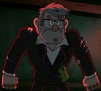 As of this month, Grunkle Stan. I'm obsessed with him and think he's so rugged and good-looking. Yeah, he's a bit weird looking in Season 1 especially when he hides his hair but I like his looks and he looks fantastic in season 2 fighting those zombies :3 also quite a looker in his earlier years.