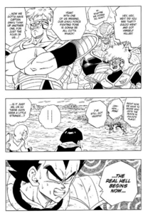 """Vegeta is basically saying """"The real hell begins now."""" according to official translations of that chapter. Pretty badass way to end the chapter too, Vegeta."""