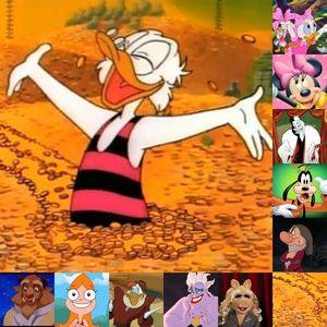 10. Beast 9. Candace Flynn 8. Launchpad McQuack 7. Ursula 6. Miss Piggy 5. Grumpy 4. Goofy 3. Cruella De Vil 2 Webby Vanderquack and Minnie muis (tied) 1. Uncle Scrooge McDuck