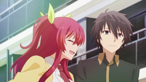 After some thought, I chose this screenshot from the upcoming Rakudai Kishi no Cavalry as my background. (I've used GIMP to snap it from the segundo preview.)