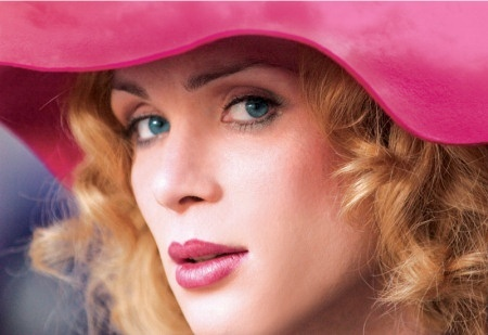 Cillian(as a woman) in a merah jambu hat :)