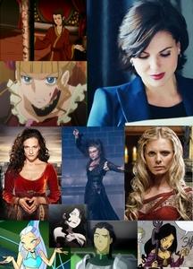 1. Azula (Avatar The Last Airbender) 2. Regina Mills (Once Upon A Time) 3. Bellatrix Lestrange (Harry Potter) 4. Nerissa (W.i.t.c.h.) 5. Icy (Winx) 6. Isabella Gisborne (Robin Hood) 7. Kuvira (Legend Of Korra) 8. Morgause (Merlin) 9. Beatrice (Umineko) 10. Lust (Full Metal Alchemist) Honorable mentions to; Jadis (Narnia), Ming Hua and Asami Sato (Korra), Temari (Naruto), Vi (League Of Legends), and Nehelinia (Sailor Moon)