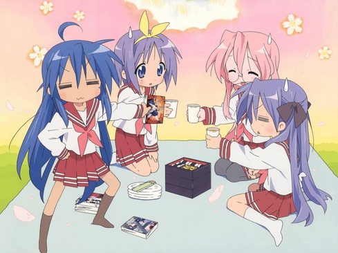 From Lucky Star! Konata,Tsukasa,Miyuki and Kagami (from left to right) having a picnic!