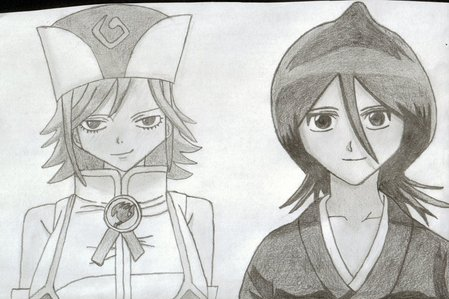"""Bleach - Rukia! she rocks. Dragon Ball Z - don't really have one, but even though she is """"evil"""", i usually pick Chi Chi since she is attractive Fairy Tail - Juvia - it's always such a silly treat whenever she gets a part Naruto - Sakura - must be the kulay-rosas hair. actually, it's because Naruto showed an early interest in her and i followed the ipakita from his point of view. One Piece - Nico Robin - I don't really watch One Piece, but I did get a nice little figure of Nico Robin pagbaba a pile of books Found one person who shares two of my favorites on the internet, here's some tagahanga art made for that person, originally found here: http://numennes.deviantart.com/art/Fairy-tail-and-Bleach-Juvia-Rukia-379945171"""