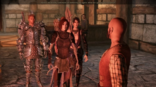 This lightweight rogue armour my Warden wears in Dragon Age: Origins. I love it. It looks pretty awesome and doesn't weigh the wearer down so they're still agile enough to use a bow.
