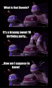 """""""Its a kraang sweet 16 birthday party""""!"""