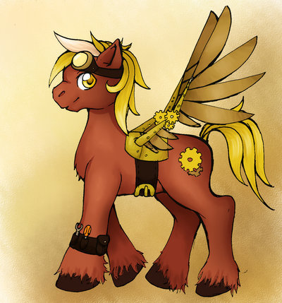 I'm steamrider the stallion I like technology and PIE!! cutie mark:two gears gender:stallion pegusus