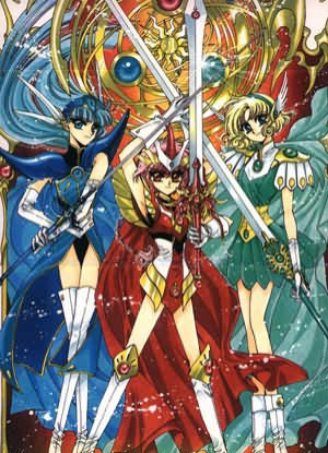 Well it isn't nearly as sad as Madoka Magica but I would recommend 당신 to read Magic Knight Rayearth.At first the plot is rather light hearted but it becomes dark and tragic towards the end.