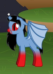 uy can you make me my oc, my oc is a alicorn with bat wings and a broken horn, and has red eyes just like the one below and the cuti mark is a rotten mansanas