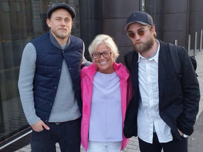 my bearded babe(far R) with a fan and Charlie Hunnam,who are in Ireland filming a movie together<3
