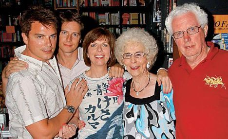 John with his husband Scott, sister Carole and his mum and dad, Marion and Snr John!