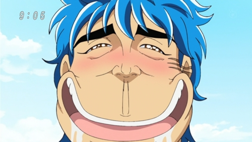 Toriko's facial expression after he tasted AND ate the Century soep