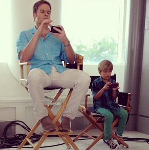 Michael with his little co-star Jadon Wells who plays Dexter's son on the show. Like father like son lol...