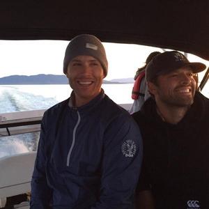 having fun on a boot with my Misha-man