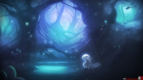 A fanart/artwork of the video game, Ori and the Blind Forest