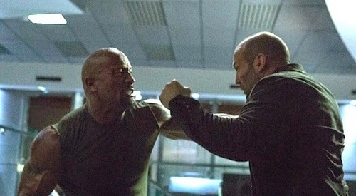 Dwayne Johnson and Jason Statham fighting each other in Furious 7<3