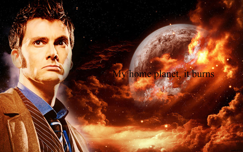 1. An epal, apple pie 2. My cat 3. Because it's fun. If I'm incredibly bored, I can browse around on Fanpop. (Plus I can geek out about things I'm a peminat of without people judging me) Here's the Tenth Doctor with a burning planet in the background. Because his utama planet burned.