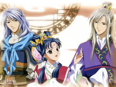 Almost all the characters in Saiunkoku Monogatari are from noble families and are connected to the main royal family. The Emperor is Ryuuki, the guy on the right. I thought this anime was really interesting btw, in fact it's on my lijst to rewatch.