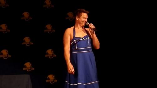 John Barrowman in a TARDIS dress