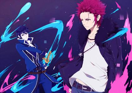 I have so many, but I'll try to condense the 列表 as much as I can: Uta (Tokyo Ghoul) Kaneki Ken (Tokyo Ghoul) Munakata (K Anime) Yashiro (K Anime) Kuroh (K Anime) Mikoto (K Anime) Kent (Amnesia) Rei (Free! Eternal Summer) Kuroko (Koroko No Basuke) Jellal (Fairy Tail) Natsu (Fairy Tail) Gajeel (Fairy Tail) Sting (Fairy Tail) Rogue (Fairy Tail)... basically a lot of guys from Fairy Tail Hitachiin Twins (Ouran High School Host Club) Tamaki (Ouran High School Host Club) Yukkimura (Aoharu x Kikanjuu) Yeah, just to name a few XD! Hope 你 were able to discover new 日本动漫 in that gigantic 列表 haha. Below Munakata from K 日本动漫 (left) and Mikoto also from K 日本动漫 (right).