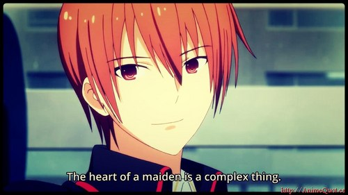 Kyousuke from Little Busters! I absolutely died at that dialogue of his... *_*